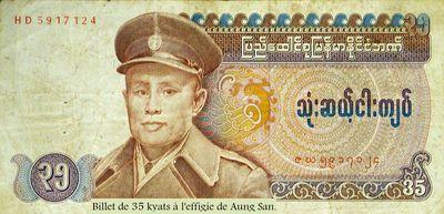 Billet de 35 kyats à l'effigie de Aung San.